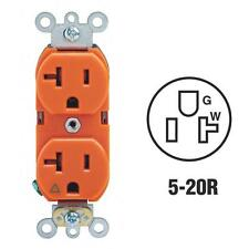 Leviton 20A Orange 3 Wire Grounding 5-20R Duplex Electric Outlet R51-05362-IGS