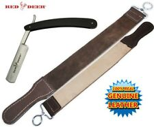 Black Handle Folding Shaving Straight Razor & Leather Sharpening Strop