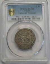 1707 CHARLES III 2 REAL PCGS AU58 SPAIN COLONIAL BARCELONA HIGH GRADE