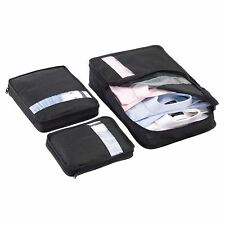 3 x Case Tidy Set Clothes Travel Organizer Luggage Suitcase Storage Bag Black