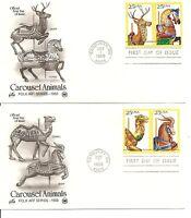 US SC # 2390-2393 Carousel Animals FDC. 2 Covers. Artcraft Cachet