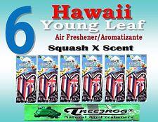 6 Packs Treefrog  YOUNG LEAF HAWAIIAN FLAG Air Freshener - SQUASH Scent