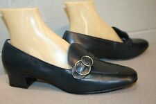 9 C Nos Vtg 70s Navy Belted Pumps Heels Fifth Avenue Selby Blue Rockabilly Shoe