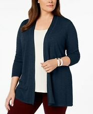 Charter Club Women's Plus Size Open-Front Ribbed-Knit Cardigan, Navy Blue, 0X