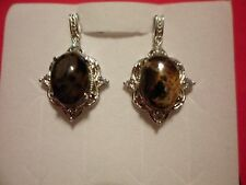 Australian Pilbara Jasper & Simulated Diamond Earrings in Platinum Overlay