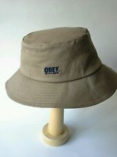 Obey World Wide Bucket Hat Khaki Cotton Flexfit One Size  MSRP $44.00