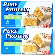 2 Packages Pure Protein 10.56 Oz Birthday Cake GF 20g Protein 6 Count Bar