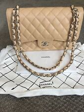 Chanel Jumbo Classic Flap Bag In Beige Caviar Leather With Silver Hardware