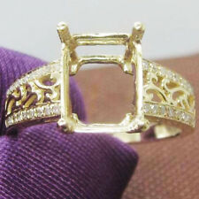 8x10mm Emerald Cut Solid 14kt 585 Yellow Gold Natural Diamonds Semi Mount Ring