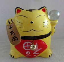 gelbe Winkekatze  Maneki Neko als Spardose