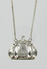 Purse Necklace-Antique Replica Sterling Silver 925 Opens to Hold Keepsake