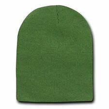 Olive Green 8 Inch Short Knit Beanie Winter Ski Cap Caps Hat Hats Toque Toques
