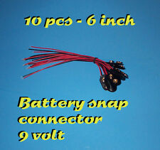 10 pcs - 9V BATTERY SNAP CONNECTOR - 6 INCH - 9 VOLT CLIP ON TYPE