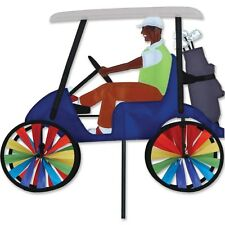 """Guy on a Blue Golf Cart 17"""" Staked Wind Spinner with Pole & Mount..18.. PR 25646"""