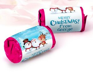 Personalised Christmas Mini Love heart rolls Party Sweets Gift Bag Favours