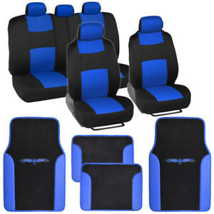 Full Set Black and Blue Car Seat Covers +PU Leather Trim Carpet Floor Mats Pads