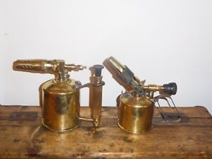 A PAIR OF VINTAGE ANTIQUE MAX SIEVERT BRASS BLOW LAMPS TORCHES - MADE IN SWEDEN