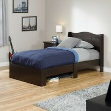 Twin Size Bed Frame With Headboard Wood Bedroom Guest Room Furniture Home Brown