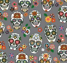 Tissu Calavera Crâne Tete de Mort Coton 100% Popeline Fabrics Skull