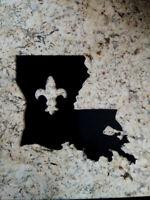 New Orleans Saints NOLA Louisiana sign, LSU Decor, FDL, Fleur de Lis Plaque, map