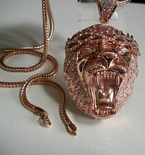 Rose Gold finish Hip Hop Bling Ice Out Rapper Style LION pendant/36'' Chain