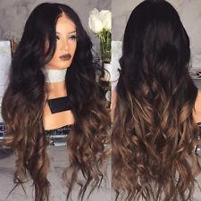 Women Black Blonde Gradient Long Curly Wig Synthetic Wavy Hair Heat Resistant