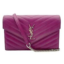 Saint Laurent Chain Wallet Small Purple Leather Cross Body Bag