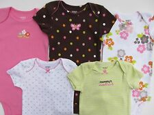 Carters Bodysuits 5 Pack Polka Dot 100% Cotton Baby Girls Size 9 Month
