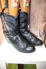 Justin 10 Ee Black Ostrich Skin Men's Cowboy Western Boots