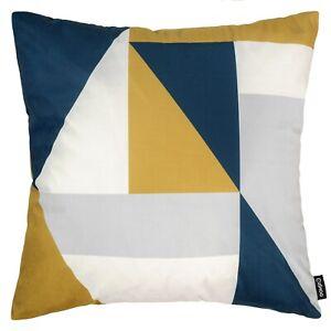 "Modern Geometric Cushion Mustard Yellow Navy Blue Sofa Top Pillow Cover 45cm 18"""