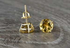 4.0 ct Round Cut Natural Citrine Screw Back Earring Studs 14K Rose Gold