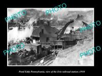 OLD LARGE HISTORIC PHOTO OF POND EDDY PENNSYLVANIA, ERIE RAILROAD STATION 1910 1