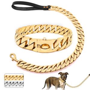Heavy Duty Dog Chain Collar and Leash Stainless Steel Choke Cuban Link Training