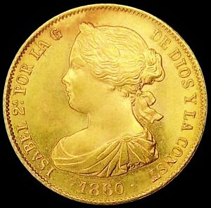 SPAIN 1860 ☆ BARCELONA 100 GOLD REALES ☆ CHOICE UNC  ☆  MAGNIFICENT ☆