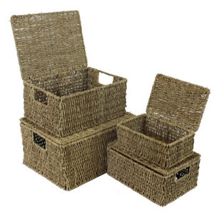 JVL Set of 4 Natural Seagrass Lidded Storage Baskets