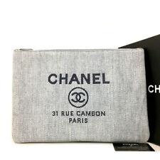 Unused CHANEL Blue Deauville CC Logo Canvas Clutch Bag /91937