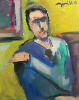 "JOSE TRUJILLO Oil Painting ABSTRACT Expressionist 16X20"" Canvas PORTRAIT Figure"