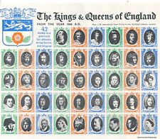 KINGS & QUEENS OF ENGLAND: SHEET OF 42 VINTAGE CINDERELLA LABELS
