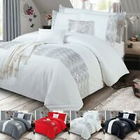 DIAMANTE Band Duvet Cover With Pillowcase Shimmer Bedding Set Double King Size