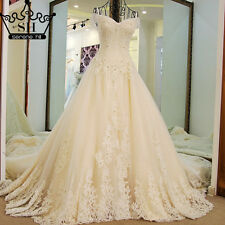 Long Train Wedding Dress Lvory Beading Pearls Tulle Long Floor Length Bride Gown