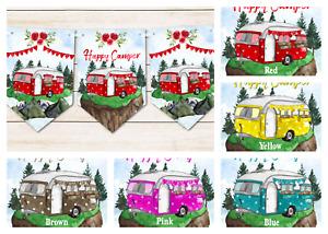 Happy Camper Caravan Bunting Decoration - Choose Colour