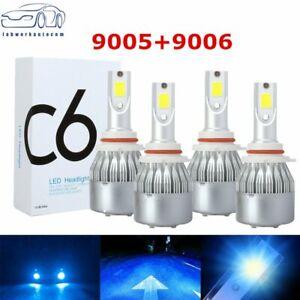 Combo 9005 9006 Ice Blue 8000K COB LED Headlight Kit Bulbs High Low Beam
