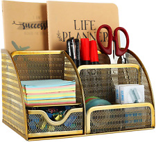 Mesh Desk Organizer 6 Compartment For Office Supplies - Gold