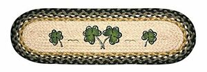 "SHAMROCKS 100% Natural Braided Jute Rug, 27"" x 8.25"" Oval, Capitol Earth Rugs"