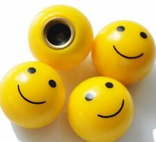 Set of 4 Anti-dust Yellow smiley face dust caps valves Car BMX Gift UK free post