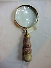 Maginifying Glass Lens Wooden Handle Carved Design Screw Off Handle Vintage Tag