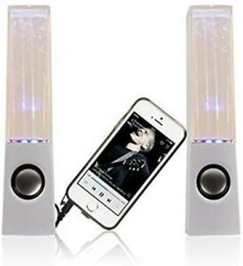 WHITE STEREO MUSIC LED DANCING WATER FOUNTAIN LIGHT SPEAKERS NEW FREE SHIPPING
