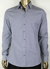 4142e616ccbe $425 New Gucci Men's Royal Blue Cotton Slim Stripe Shirt 41/16 307648 4379