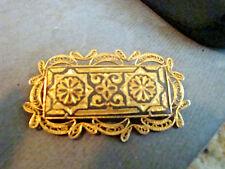 Vintage Damascene Brooch Pin Made in Toledo Spain Gold Plated Filigree Ornate