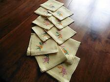 linge ancien 11 serviettes a the jaune pur lin brodees